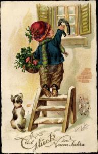 Ak Glückwunsch Neujahr, Kind mit Hufeisen, Kleeblätter, Glückspilze, Hund