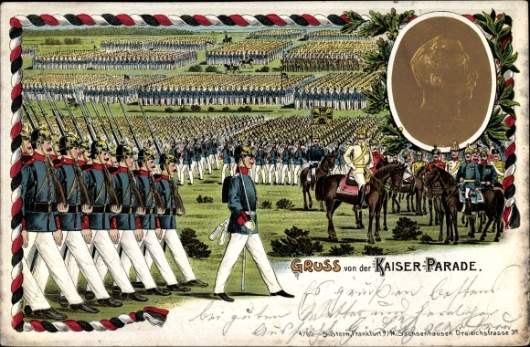 Präge Litho Kaiser Wilhelm II., Abnahme der Kaiserparade, Portrait