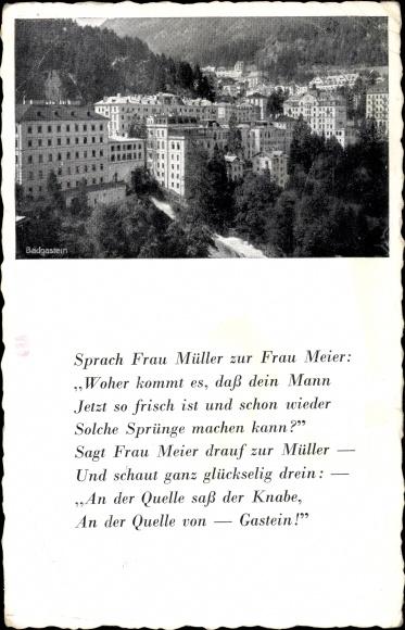 Ak Bad Gastein in Salzburg, Badgassen, Häuser, Gedicht