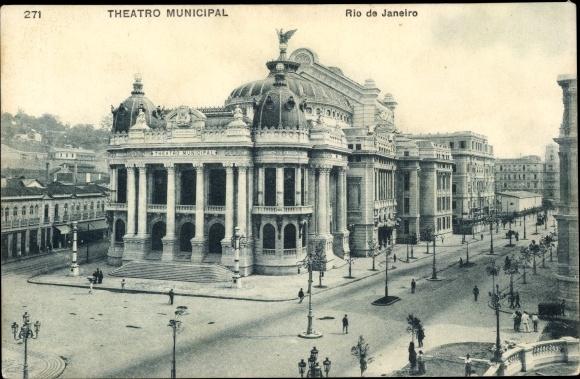Ak Rio de Janeiro Brasilien, Vista do Theatro Municipal, Straßenpartie mit Theater