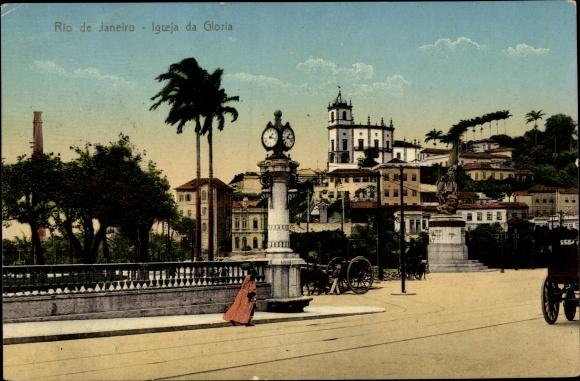 Ak Rio de Janeiro Brasilien, Igreja da Gloria, Straßenansicht, Denkmal, Stadtuhr