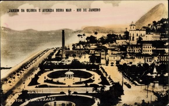 Ak Rio de Janeiro Brasilien, Jardim de Gloria e Avenida Beira Mar