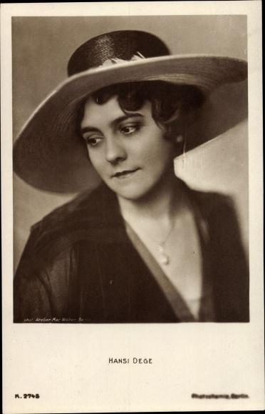 Ak Schauspielerin Hansi Dege, Portrait, Hut, PH K 2745
