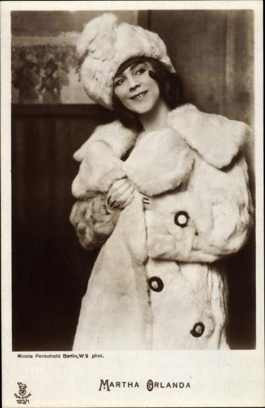 Ak Schauspielerin Martha Orlanda, Portrait, Pelzmantel, RPH 123/1