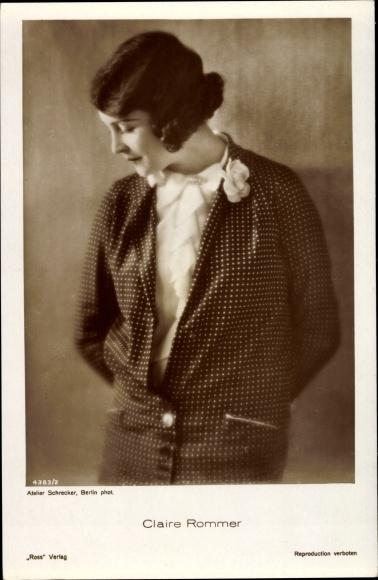 Ak Schauspielerin Claire Rommer, Portrait, Ross Verlag 4383 2