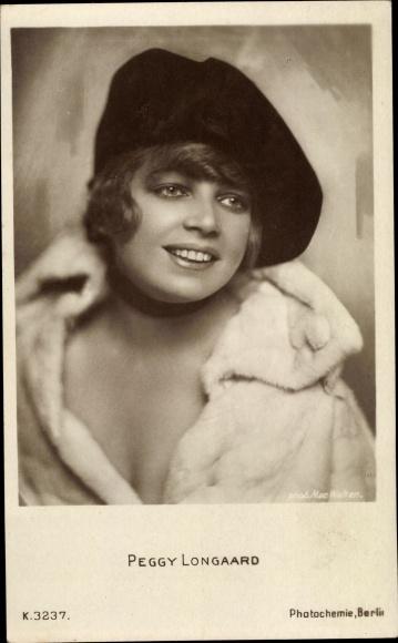 Ak Schauspielerin Peggy Longaard, Portrait mit Hut