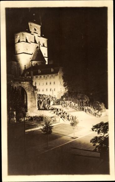 Foto Ak Erfurt in Thüringen, Sängerfest am Dom bei Nacht