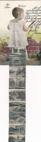 Leporello Ak Erfurt in Thüringen, Kleinkind malt, Kaiserplatz, Denkmal, Stadtansichten