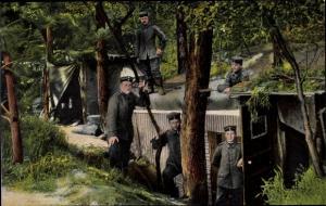 Ak Das deutsche Heer, Unterstand und Vorratskammer, Deutsche Soldaten in Uniform