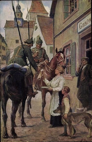 Künstler Ak Roloff, A., Ein Trunk im Bügel, Deutsche Soldaten