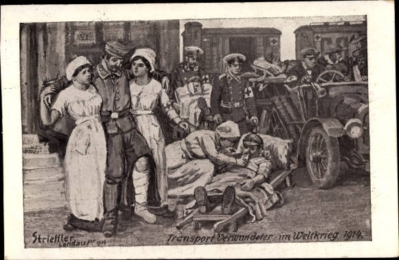 Künstler Ak Strieffler, Transport Verwundeter im Weltkrieg 1914, Krankenschwestern