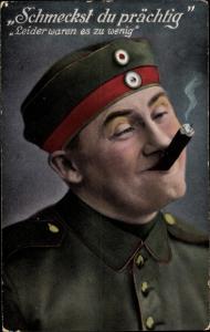 Ak Schmeckst du prächtig, Leider waren es zu wenig, Rauchender Soldat, Zigarre