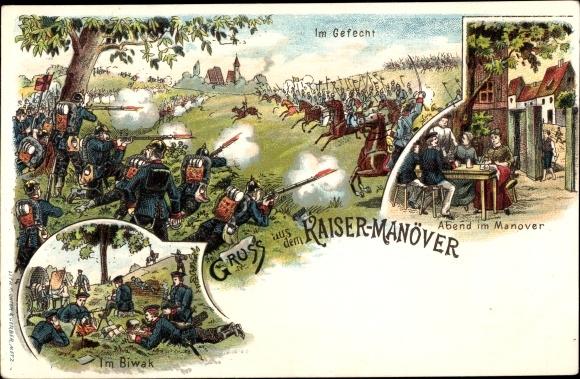 Litho Gruß aus dem Kaisermanöver, Gefecht, Biwak