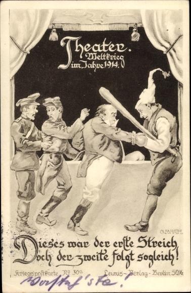 Künstler Ak Theater Weltkrieg, Dieses war der erste Streich, Deutscher Michel, Franzose, Brite