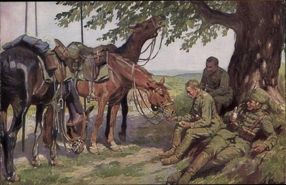 Künstler Ak Roloff, A., Treue Freunde, Deutsche Soldaten mit ihren Pferden, Rast