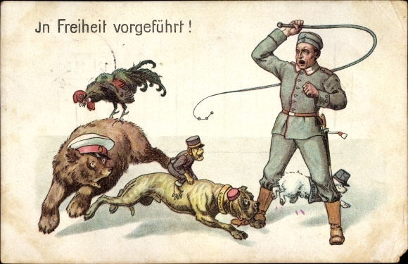 Ak In Feiheit vorgeführt, Deutscher Soldat als Dompteur, Nationaltiere