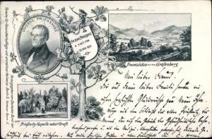 Ak Gozdnica Freiwaldau Schlesien, Gräfenberg, Vincenz Prießnitz, Kapelle, Gruft