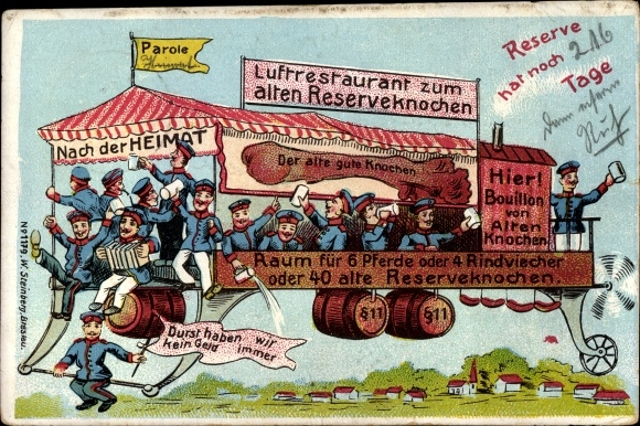 Litho Luftrestaurant zum alten Reserveknochen, Reserve hat noch 216 Tage, Bier