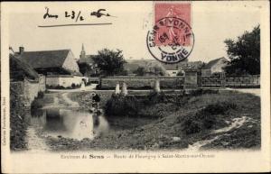 Ak Saint Martin sur Oreuze Yonne, Route de Fleurigny