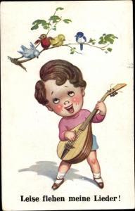 Künstler Ak Leise flehen meine Lieder, Junge mit Laute, Vögel