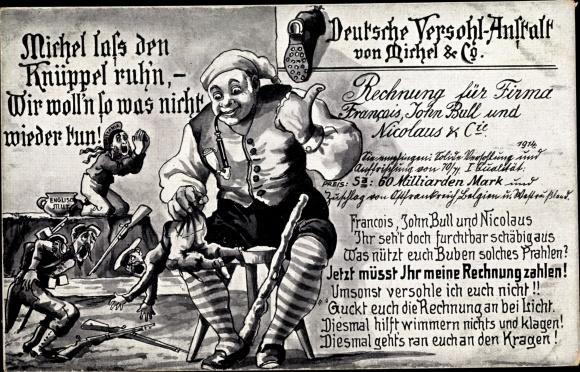 Künstler Ak Deutsche Versohl Anstalt, Deutscher Michel, Francois, John Bull, Nicolaus