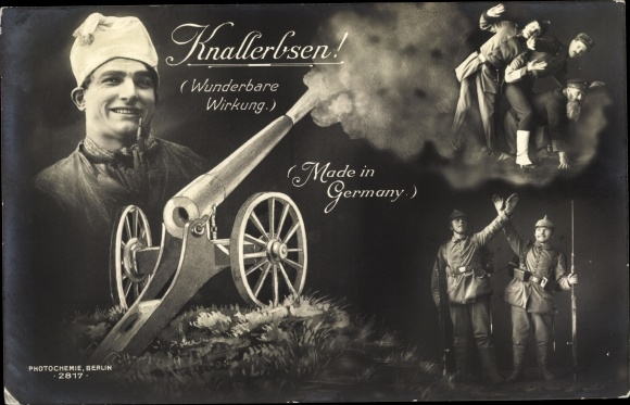 Ak Knallerbsen, Deutscher Michel, Kanone, Made in Germany, PH 2817 0