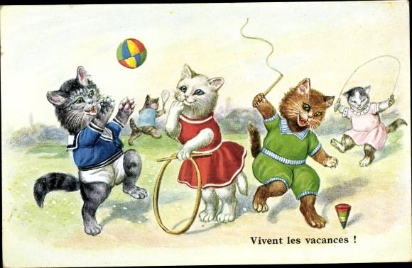 Künstler Ak Vivent les vacances, Katzen, Reifen, Kreisel, Ball, vermenschlichte Tiere