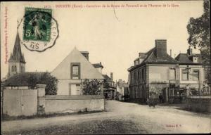 Ak Bourth Eure, Carrefour de la Route de Verneuil et de l'Avenue de la Gare