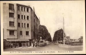 Ak La Courneuve Seine Saint Denis, Carrefour des Six Routes, Boulevard de Stains