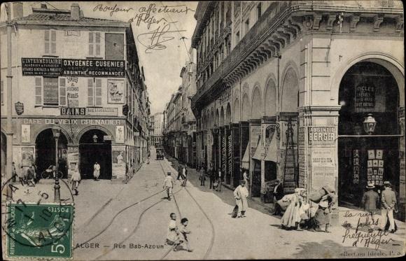 Ak Algier Alger Algerien, Rue Bab Azoun