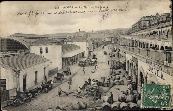 Ak Algier Alger Algerien, La Gare et les Quais