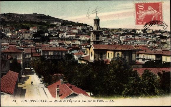 Ak Philippeville Wallonien Namur, Abside de l'Église et vue sur la Ville