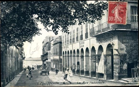 Ak Philippeville Algerien, La Rue Nationale