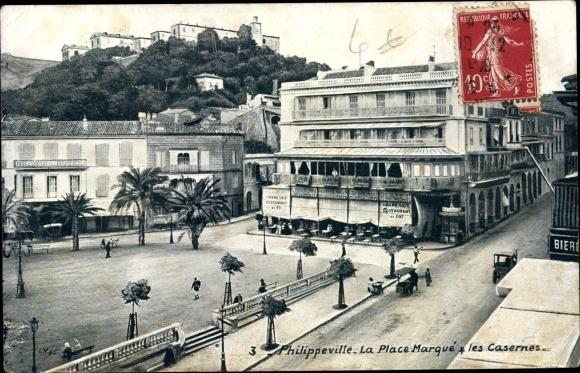 Ak Philippeville Algerien, La Place Marqué et les Casernes