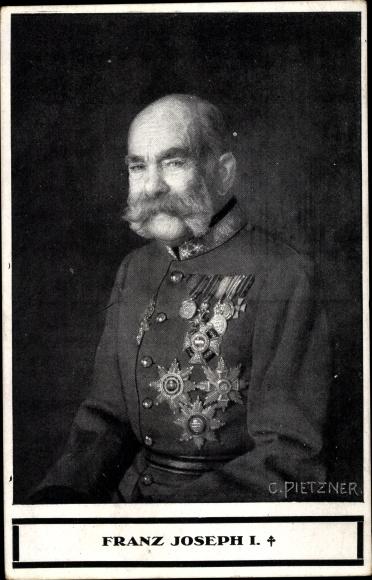 Künstler Ak Pietzner, C., Kaiser Franz Joseph I., Trauerkarte, BKWI