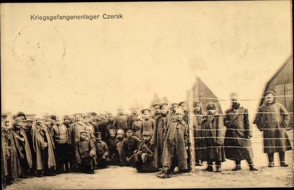 Ak Czersk Westpreußen, Kriegsgefangenenlager, russische Soldaten