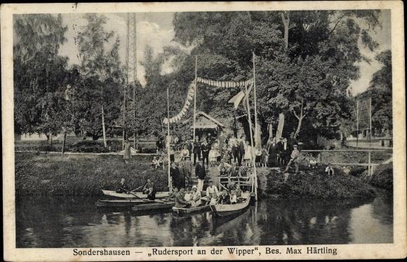 Ak Sondershausen im Kyffhäuserkreis Thüringen, Rudersport an der Wipper