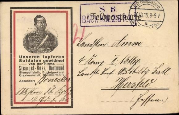 Ak Firma Stempel Boss Dortmund, Kaiser Wilhelm II.