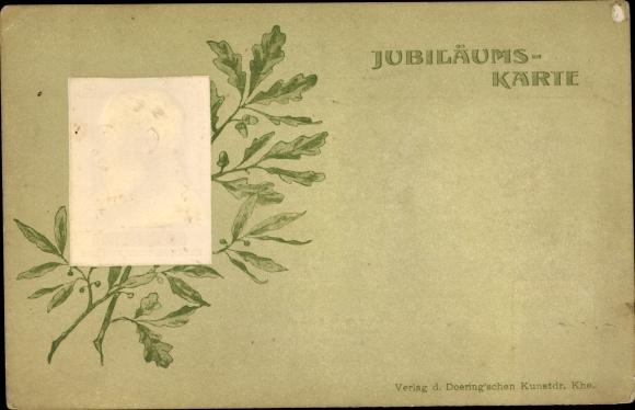 Präge Ak Großherzog Friedrich I. von Baden, Eichenlaub, Lorbeer