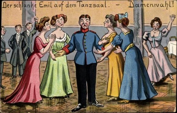 Künstler Ak Der schlanke Emil auf dem Tanzsaal, Damenwahl, Soldat