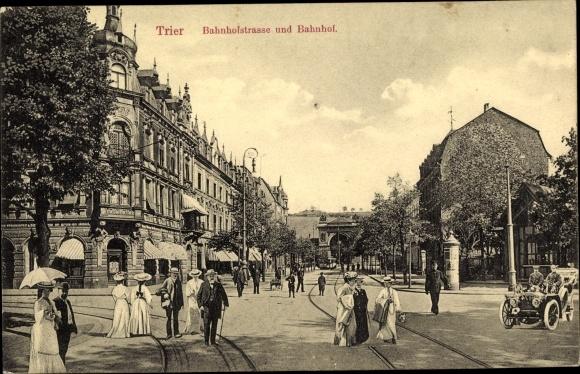Ak Trier in Rheinland Pfalz, Bahnhofstraße, Bahnhof