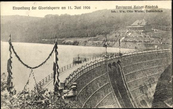 Ak Breckerfeld Nordrhein Westfalen, Einweihung der Gloertalsperre 1906, Restaurant Kaiser Friedrich