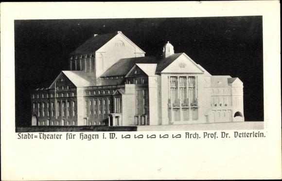 Ak Hagen in Westfalen, Stadttheater, Gebäudemodell, Architekt Prof. Dr. Vetterlein