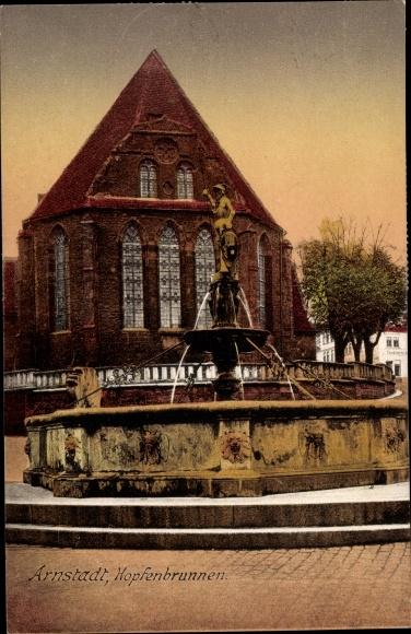 Ak Arnstadt im Ilm Kreis Thüringen, Hopfenbrunnen