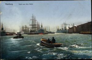 Ak Hamburg, Hafenpartie, Motorboot, Schlepper, Segelschiffe