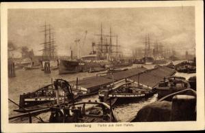 Ak Hamburg, Hafenpartie, Binnenschiffe