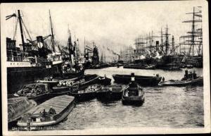 Ak Hamburg, Hansa Hafen, Binnenschiffe, Warentransport