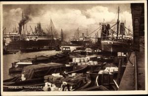 Ak Hamburg, Hafenpartie, Warentransport in Booten, Dampfer