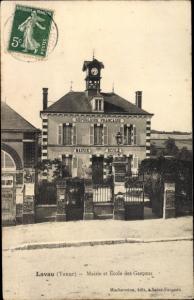 Ak Lavau Yonne, Mairie et École des Garcons