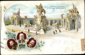 Ganzsachen Litho Berlin, Nationaldenkmal Kaiser Wilhelm I., Kaiser Wilhelm II., Kaiser Friedrich III
